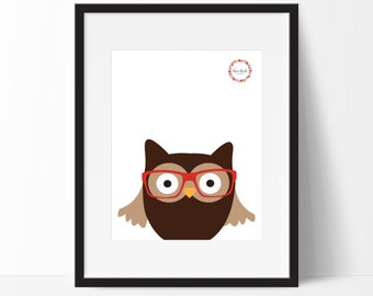 Hipster Woodland Owl Wall Print_0046WP
