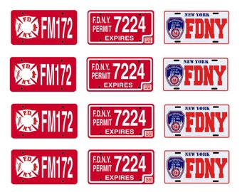 scale model fire truck chief department license tag plates