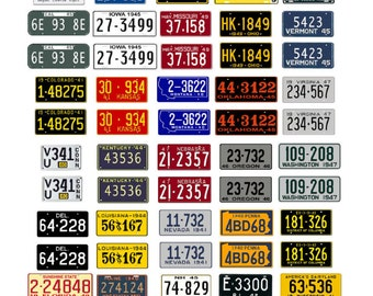 scale model car assorted USA license plates state tags 1930s 1940s 1950s 1960s 1970s 1/18 1/25 1/43 1/64