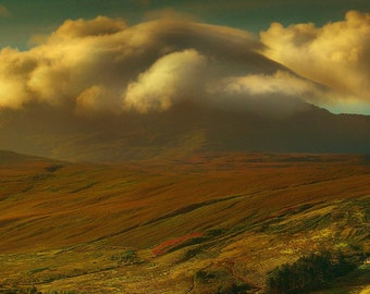 Farm on Isle of Skye, Scotland, landscape, rural, agriculture, clouds, mountain, landscape, wall art