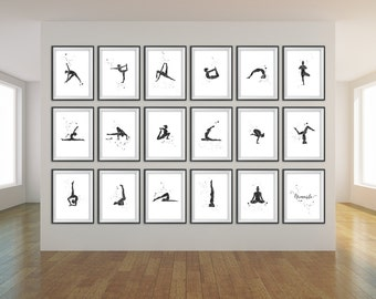18 PACK Yoga Print, Yoga Art, Yoga Studio Decor, CUSTOM COLOUR, Yoga