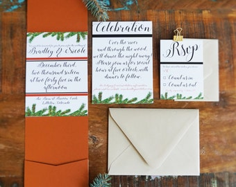 Woodsy Elegant Wedding Invitation Suite