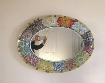 Oval Detailed Mosaic Handmade Mirror