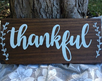 Farmhouse thankful sign, thanksgiving decor, thanksgiving sign, farmhouse sign, farmhouse decor, rustic wood sign