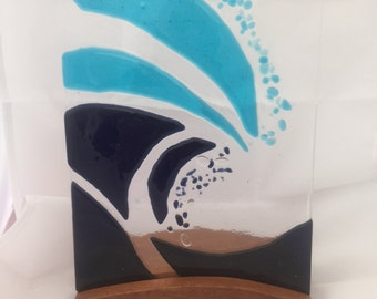 Wave glass art with hardwood base