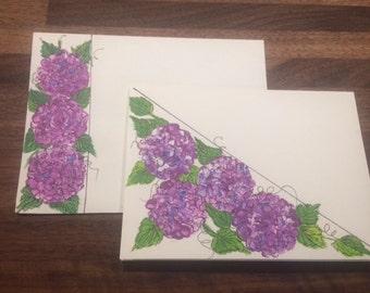 Hand Painted Original Purple Hydrangea Greeting Card