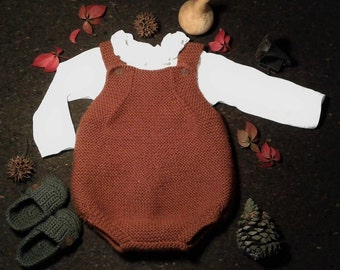 Cotton Merino Hand Knitted Baby Romper / Baby Onesie / Baby Overalls / Baby Bodysuit / Baby Dungarees