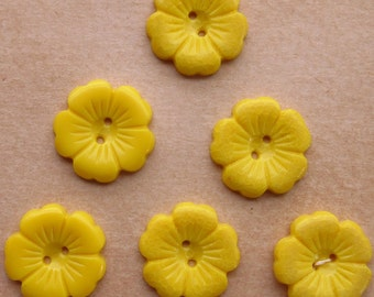 6 Vintage Yellow Plastic Flower Buttons 1930s
