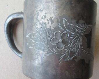 Baby Cup Mug Victorian Bright Cut Quadruple Plate Silver Plate Homan & Co. Circa 1890s