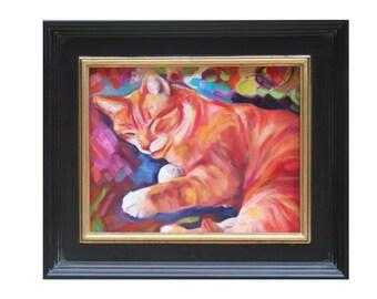 ORIGINAL OIL PAINTING 8x10 Sleeping Cat Animal Art framed