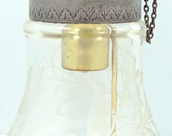 Late Victorian Etched Glass Atomizer Perfume Bottle
