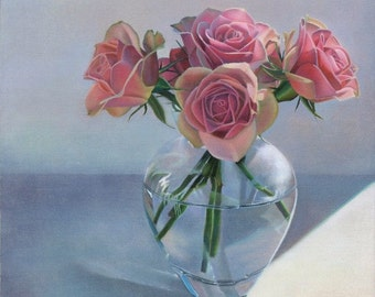 Pink Peach Cottage Roses Floral Still Life Portrait Giclee print by Leslie Macon
