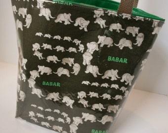 Dark Grey Babar Fabric Reusable Lunch Bag, Lunch Sack, Reusable Bag
