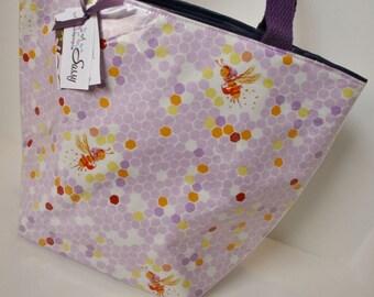 Lilac Bee Fairy Reusable Lunch Bag, Lunch Sack, Reusable Bag, Picnic Bag, Boat Bag
