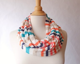 Bright stripe print Infinity Scarf circle cowl scarf, tube scarf spring stripes cotton coral white, navy, teal, orange, oatmeal