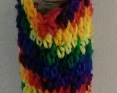 Rainbow Crocheted  Bottle Carrier - Long Strap - Cross-Body Strap  - Drink Bag - Hiking Accessory - Festival Drink Carrier - Ready to Ship