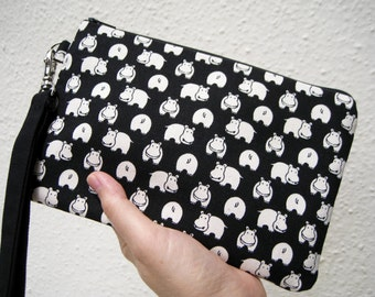 Wedding Clutch 2 pockets,medium,black,canvas,animals ,black,, wristlet, cotton  - Hippo