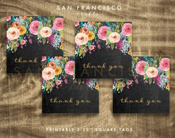 Printable Chalkboard Thank You Tags, Floral Bridal Shower, Baby Shower Gift Tags - DIY Instant Download PDF File