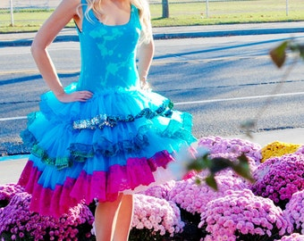 HUGE Anniversary SALE New York Couture One of a Kind Turquoise OMBRE Sequin Lace Tutu Party Dress