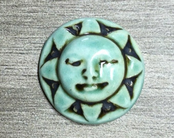 Sunshine Face Ceramic Cabochon Stone in Seafoam Iron