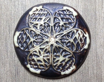 Large Filigree Ceramic Cabochon in Pewter and Bone White