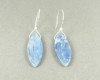 Kyanite Gemstone Sterling Silver Dangle Earrings Marquise Dagger Blue Gem Rustic Stone