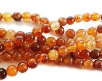 Amber Orange Jade Round Gemstone Beads