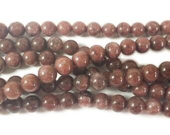 Cola Brown Jade Round Gemstone Beads