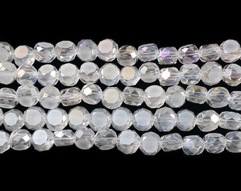 Clear w/AB Glass Faceted Coin Beads
