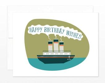 Birthday Card - Nautical Steamer Ship
