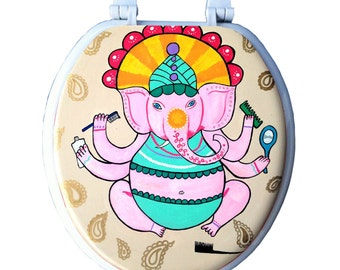 Bathroom Ganesha Toilet Seat Indian Elephant Ganesh Bathroom Wall Art Decor Gift Remodel