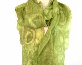 Nuno Felted scarf , Merino scarf , Unique Wool scarf, Felted Ruffled  Scarf , Chartreuse green Wrap, Iona Loyola