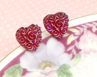 Fuchsia Heart Earrings, Pink Heart Studs, Iridescent Rose Bouquet in Heart Shape, Flower Girl Earrings, Sensitive Ear Studs (SE4)