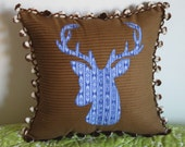Oh Deer! corduroy deer silhouette pillow with pom pom trim