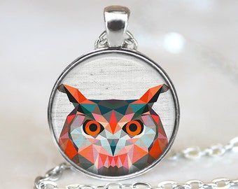 Owl Pendant, Bird Art Necklace, Geometric Owl Jewelry, Bird Art Pendant, Polygon Bird Jewelry, Owl Gift, Owl Art Pendant, Bronze Silver, 031