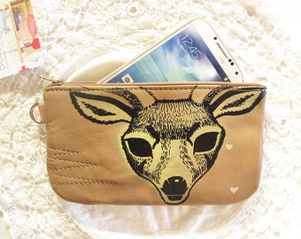 Leather Phone or Pencil Case with Diamond Spirit Deer Print