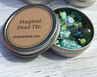 Glass beads, glass bead lot, bead kit, glass beads and more in a magical bead tin, aqua and greens, 2.5 inch aluminum tin 2 ounces