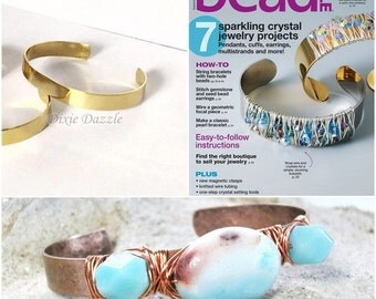 ON SALE 5 gold plated brass bracelets for stamping, metal stamping, wire wrapping, DIY wire wrapped  bracelet as seen in Bead Style Magazine