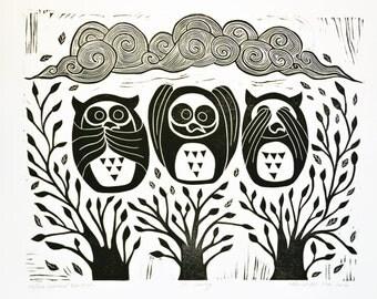 Original Handpulled, Linocut Print, Relief Print, It's Coming, Owl Print, Limited Edition