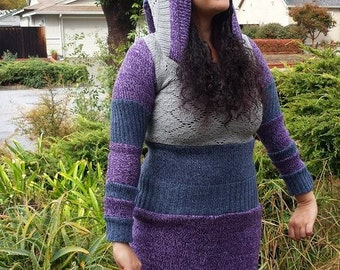 Blueberries and Plums Hooded Sweater Dress