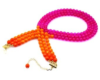 Hot Pink Statement Necklace, Pink Triple Strand Necklace, Pink Multi Strand Statement Necklace, Neon Pink Statement Necklace, Pink Orange