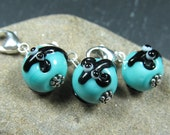 Rat Lovers Ltd Edition bracelet charm, Black Rat over turquoise, Sterling silver carabina clip