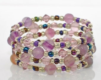 Purple Fluorite Wraparound Bracelet Cuff Purple Haze - Memory Wire Bracelet - Purple Bracelet