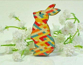 Bunny Brooch Rabbit Jewelry Criss -Multicolor Criss Cross Rabbit Brooch -Bunny Jewelry -Rabbit Pin -Animal Jewelry -Bunny Pin -Nature