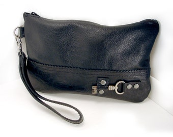 Black Leather Wristlet with Antique Key - Rose Embossed Black Leather Zipper Pouch