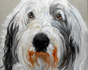 Old English Sheepdog Art. Old English Sheep Dog Custom Pet Portrait Artist, Custom Painting, Portrait  Oil Painting on Canvas