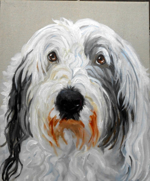 Dog Portrait Old English Sheepdog Custom Painting, Large Oil Painting on Canvas of your Pet, full of Personality, great Mother's Day Gift