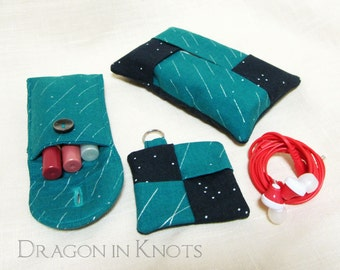Purse Organizing Set - teal and navy, 3 pieces - Insulated Lip Gloss Holder, Keychain Earbud Pouch, and Travel Pocket Tissue Holder