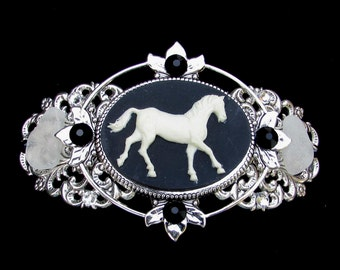 Barrette Black and  Creamy White Horse Cameo with Beach Glass and Crystal Accents