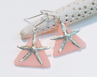 Starfish Earrings Coral Stained Glass